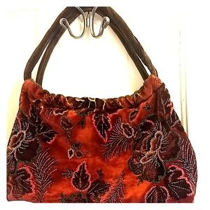Handbags - Vintage Embroidered and Beaded Floral Purse